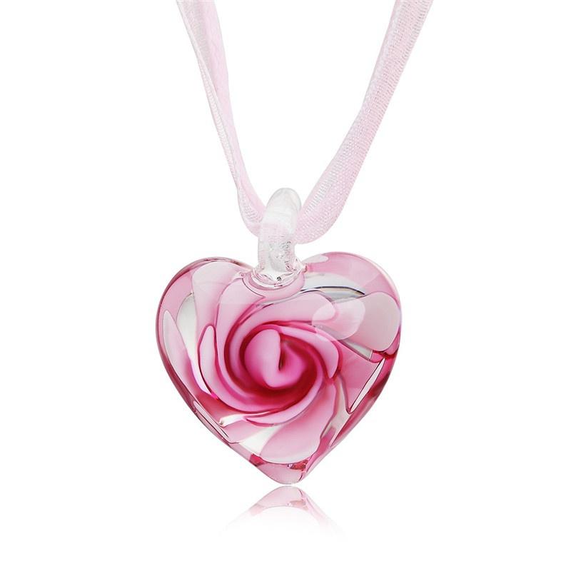 Handmade Luxury Love Heart Necklace Glass Blown Flower Inlaid Spiral Ribbon*