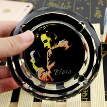 American Celebrity Pop Superstar Elvis Presley Souvenirs Collectibles Creative Smoking Gift For Boyfriend Fans Crystal Ashtray(China)