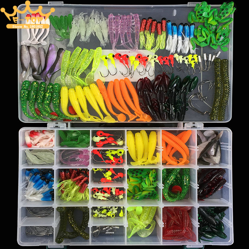301pcs Multi-depth Seawater &amp; Freshwater Soft Bait Suit Simulation Fishing Lure Kit for  with Lead Hooks / Shrimps / Worms / Gru<br>