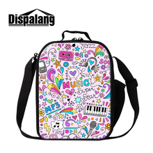 Dispalang costomized design lunch bags for girls cute music mp3 printing cooler bags for children women food packing bags retail(China)