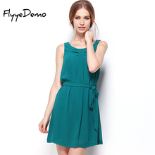 FlyyeDemo 2017 Summer Cute Dress Creative Design High Quality Vintage Chiffon Sleeveless Dress Holiday Short Sashes Sundress(China)