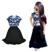 2016 Set Summer Girls T shirts + dress 2 pcs / clothes clothing black floral sets Kids street shooting in Style(China)