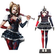 Harley Quinn Costume Cosplay Batman Arkham Knight Costume Fancy Dress Christmas Game Outfit Sexy Clown Suit Adult Women Any Size(China)