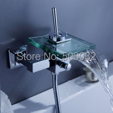 Wall Mounted Bath & Shower Faucets Square Waterfall Glass Spout Bathroom Bath Shower Tap Mixer Bathtub Faucet(China)