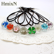 Real Dried Dandelion Pendant Necklace Glass Ball Plant flower Crystal feather Long Strip Leather rope Chain Gift Collier Femme(China)