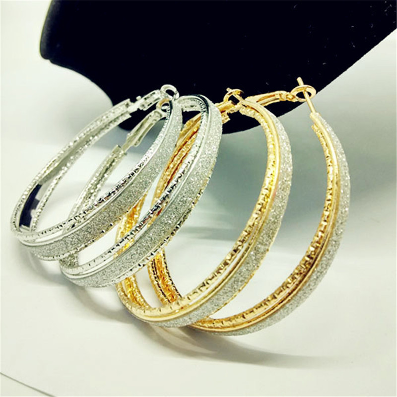 Luxury-Gold-Silver-Color-Frosted-Earring-Jewelry-Round-Big-Hoop-Earrings-For-Women-Fashion-Accessories-Party (1)