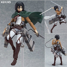 "15CM Anime Figure Attack on Titan Figma Brinquedos 203 Mikasa Ackerman 6"" PVC Action Figure Collectible Model Doll Toy For X173(China)"