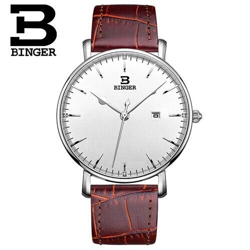 Switzerland BINGER Watches Auto Date Men Watches Sports Quartz Watch Luxury Brand Watch Man 2017 Black Leather Strap Wristwatch<br>