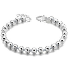White Brass 925 Sterling Silver Beads Chain Women Bracelet Bangle Wristband Jewelry Fashion Vintage Charms Hand Accessories