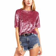 New Summer Women Fashion High Quality Short Seleeve Velvet Soft Tee Shirt Casual Drop Shoulder T Shirt Tops