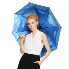 Trio Blue Sky Umbrella Elegant Lady Umbrella Windproof Umbrella Black rubber Proof Ultraviolet  Folding Rain/Sun Umbrella