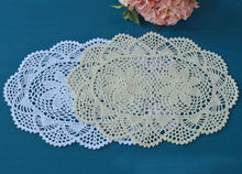 "30*42cm(11.8""X16.3"") Round Crochet hook flower round tablecloth pastoral hollow cotton tablecloths white"