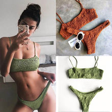Summer Sexy Women Bikini Set Swimwear Push-up Padded Bra Swimsuit Bandage Bathing Suit Beachwear Plicated Triangle(China)