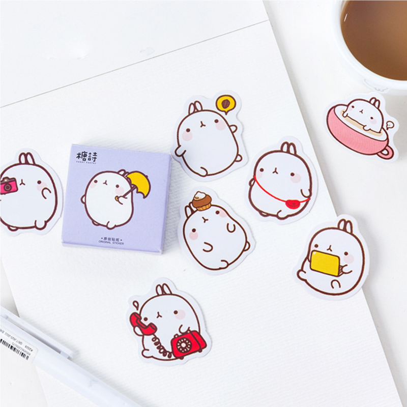 1 Box Cute Molang Mini Decorative Stickers Scrapbooking DIY Diary Album Stick Label Decor Student Supply