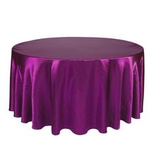 Black / White 120 Inch Round Satin Tablecloths Table Cover for Wedding Party Restaurant Banquet Decorations(China)