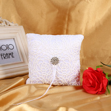 15x15cm White Flower Lace Square Pillow Cushion With Diamond Romantic Wedding Ring Pillow Cushion Party Home Mariage Decoration
