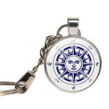 Nautical Compass Keychain Glass Cabochon Mariner's Compass Key Chains Glass Dome Key Ring For Sailing Boating Jewelry Key Holder