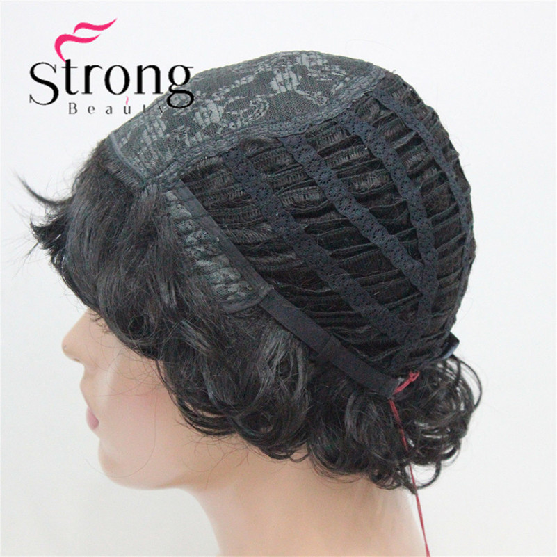 E-7125 #2New Wavy Curly Off Black Wig Short Synthetic Hair Full Women's Wigs For Everyday (9)