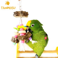Natural Colorful Birds Parrot Chew Toys Wooden Cotton Rope Swing Bird Cage Accessories Pet Supplies(China)