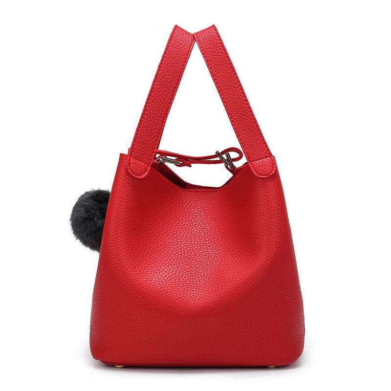 Aresland 2017 New Designer Bucket Womens Shoulder Bag Crossbody Bag Top-Handle Luxury Fashion Handbags Fur Ball High Quality<br><br>Aliexpress