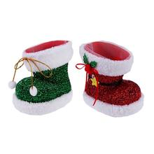 Santa Claus Christmas Shoes Flocking Boots Gifts Of Candy Christmas Decorations For Children Christmas Decoration
