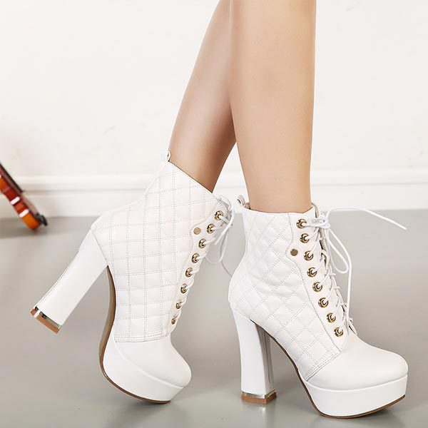 2014 Lace Up thick High Heels Women Punk Style Ankle Boots Thick Bottom Platform Fashion Boots European Motorcycle Leather Boots<br><br>Aliexpress