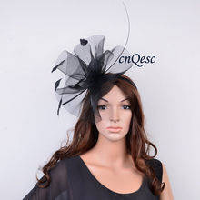 Black Chapeau de Fete sinamay base Crin Fascinator wedding hat with feathers for Kentucky Derby,church,races,QFC001(China)