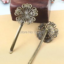 32mm Blank Bobby Pins Bases Settings Filigree Hollow Circle Flower pads Hair Clip Hairpins Crafts Findings Antique bronze tone