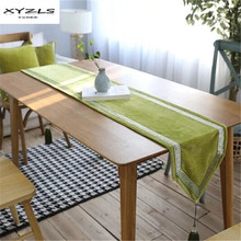 XYZLS High Grade Chenille Table Runner Luxury Green Embroidered Table Runners with Tassel Wedding Party Decoration Supplies 1PC(China)