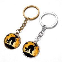 12PCS/lot New Key chain Round Cat pendants keychains supplies wholesale gifts customize logo key ring women Keychain car cheap(China)