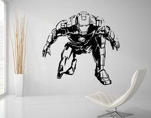 Wall Decal Iron Man Marvel Comics Art Sticker Kids Room Decoration Livingroom Bedroom Home House Accessories Poster Decor WW-81(China)