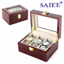 SAIKE Luxury Watch Boxes MDF Wristwatch Packaging Box Rectangle Storage Boxes for Expensive Watch Display Collection Red 3Grid