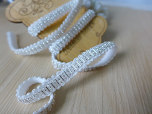 "2 Yards 0.39"" Wide Stretch Lace Trim With Silver Beads, Beading Trimming For Bridal Belt, Cake Decoration, Costume Design(China)"