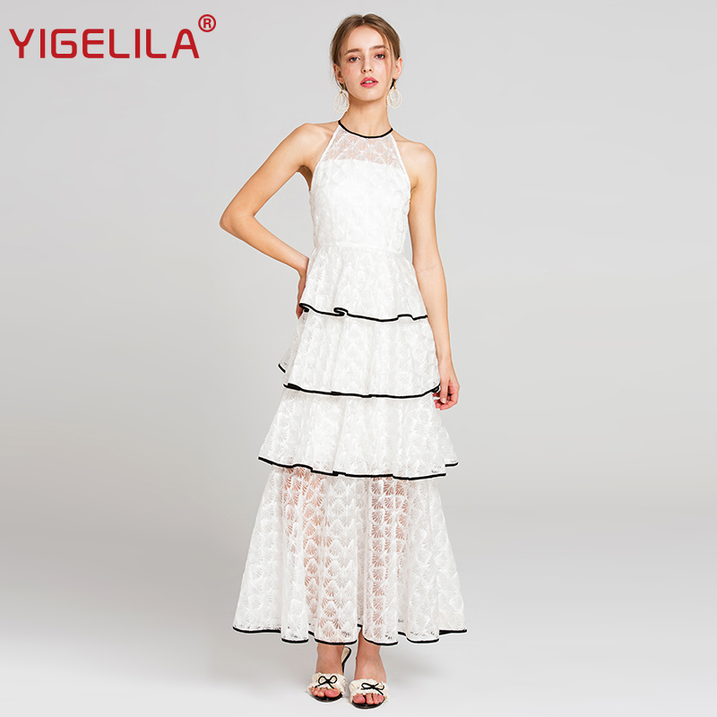 YIGELILA 2018 Latest Summer Women Fashion Sexy Halter Shoulder Empire Floor Length Lace Party Long Dress 62869