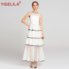Buy YIGELILA 2018 Latest Summer Women Fashion Sexy Halter Shoulder Empire Floor Length Lace Party Long Dress 62869