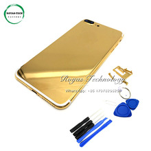 5 PCS/Lot Replacement 24K Gold Plated Rear Door Housing for iphone 7 Plus Back Cover Middle Frame with Card Tray+Buttons