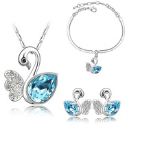 2015 Swan Jewelry Necklace/Earring/Bracelet High Quality White Animal Jewelry Set Nickel Free Gift Sets For Women