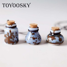 TOYOOSKY New Hot Fashion Women's Neckalces for Girls Pendants Perfume Bottle Wholesale Gift Retro Ceramic Accessory Jewelry