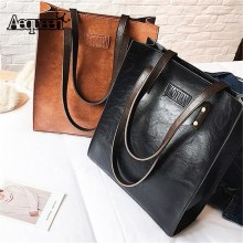 AEQUEEN Vintage Bucket Handbag Women Shoulder Bags PU Leather Ladies Totes Trunk Sling Bag 2018 Fashion Rivet Bolsa Feminina(China)