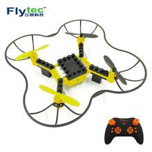 Flytec T11 2.4G DIY Block RC Drone 3D Headless Educational Toy mini drone quadcopter Rc helicopter remote control helicopter(China)