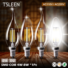 TOP!19+Cheap+ E12 E14 4/8W Filament LED Light Candle Bulb Chandelier Lamps Replacement # TSLEEN