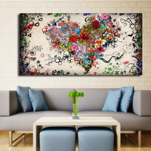 Modern Big canvas wall art canvas painting Watercolor Heart Flowers Abstract wall Pictures for living room HD print unframed(China)