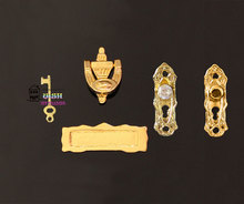 1:12 Dollhouse miniature Fairy Door Accessories Hardware Metal Doorknob Key Mailbox Knocker 4pcs Rhinestone/ Classic 2 style(China)