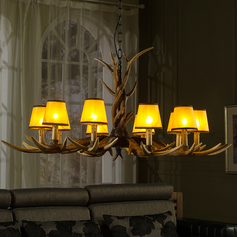 6 8 10 Lights Vintage Deer Chandelier Antlers Resin Chandeliers Candle Fixtures with Alphabet Cloth Lampshade Christmas Decor Lustres 7