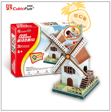 Educational toy 1pc CubicFun solar energy windmill 3D paper DIY jigsaw puzzle assembling model building kits children gift toy(China)