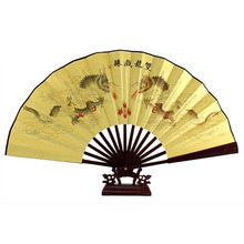 SZ Hot Dragon Poem Oriental Painting Rosewood Bamboo Ribs Folding Hand Fan