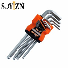 9 Pcs L-Shape Hex Key Repair Tools Powerful Type Allen Wrench Set High Chrome Vanadium Steel Middle Ball Head An Allen Key ZK122