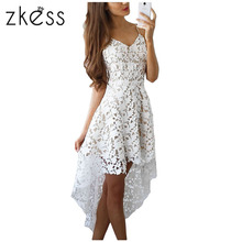 Zkess 2017 Short Front Long Back Summer Casual Dress Hollow Out Elegant White Lace Dress Women Short Party Dress Vestido LC61443