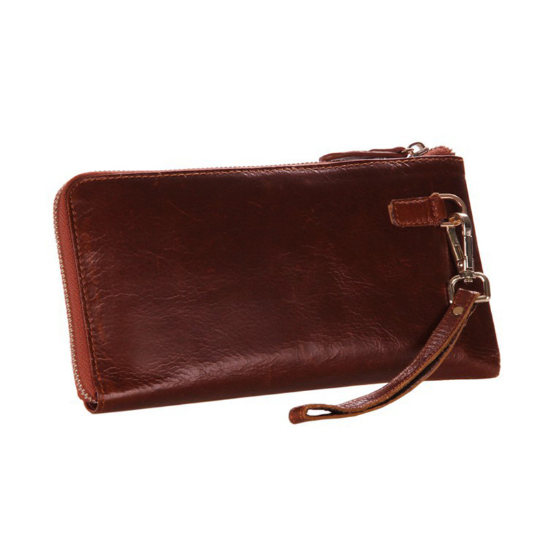 Men Long Wallet Cowhide Zipper Closure Genuine Leather Man Clutch Bag Male Coin Holders PR098040<br>