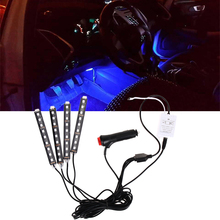 4Pcs Car-styling 7 Color RGB Car Interior Light Bar 9 LED Wireless IR Music Voice Control Automotive Atmosphere Decor Lamp Strip